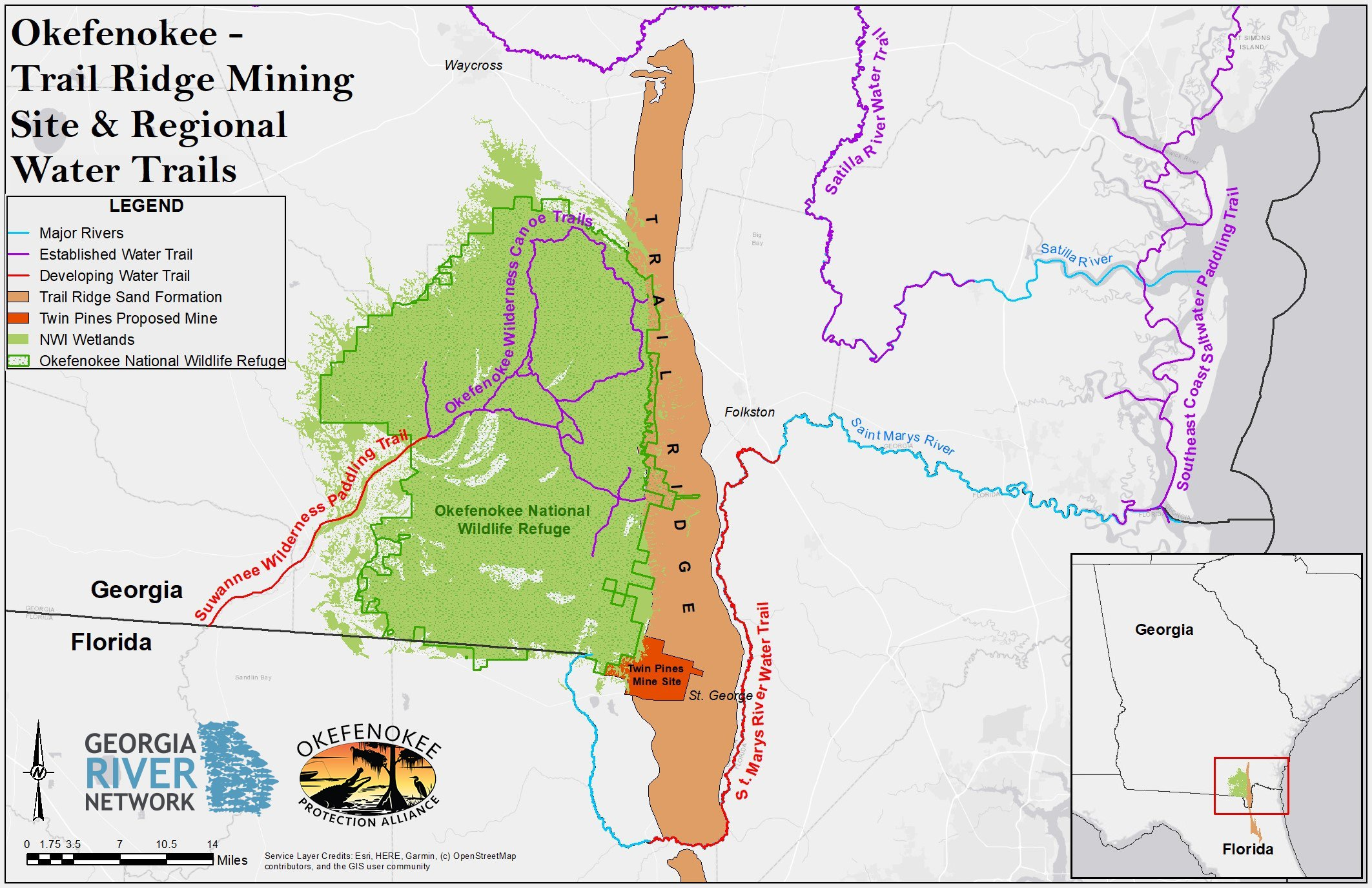 Okefenokee Trail Ridge Mining Site & Regional Water Trails